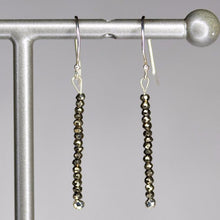 XE3PYS Faceted Pyrite Rondelle Earring Silver