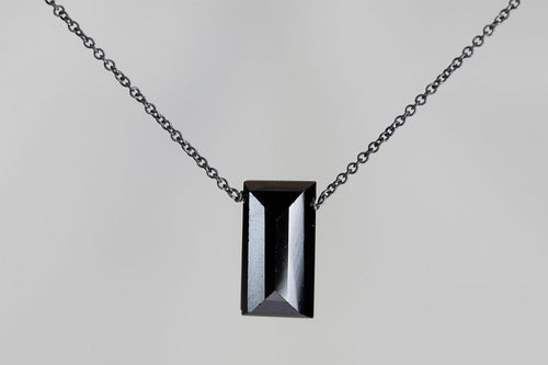 XLBSS Black Spinel Large Baguette Silver Necklace