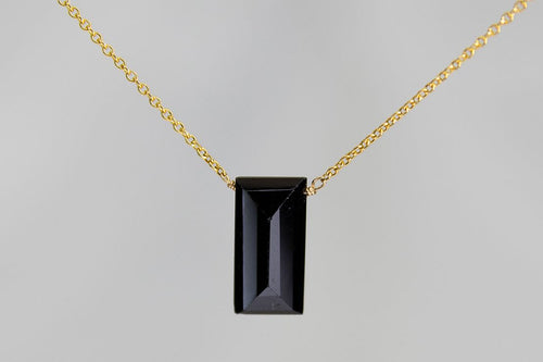 XLBSG Black Spinel Large Baguette Gold Necklace