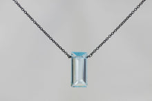 XLBTB Blue Topaz Large Baguette Oxidized Necklace