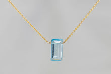 XLBTG Blue Topaz Large Baguette Gold Necklace