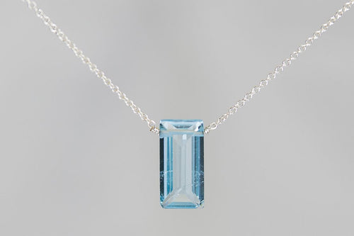 XLBTS Blue Topaz Large Baguette Silver Necklace