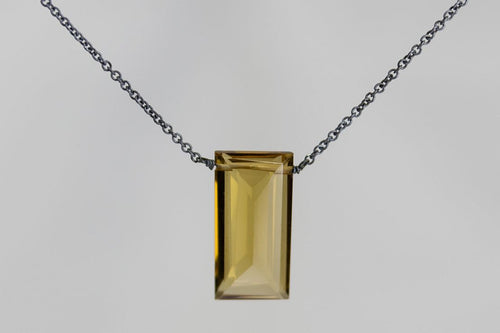 XLCQB Cognac Quartz Large Baguette Oxidized Necklace