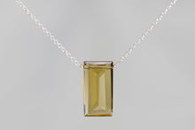 XLCQS Cognac Quartz Large Baguette Silver Necklace