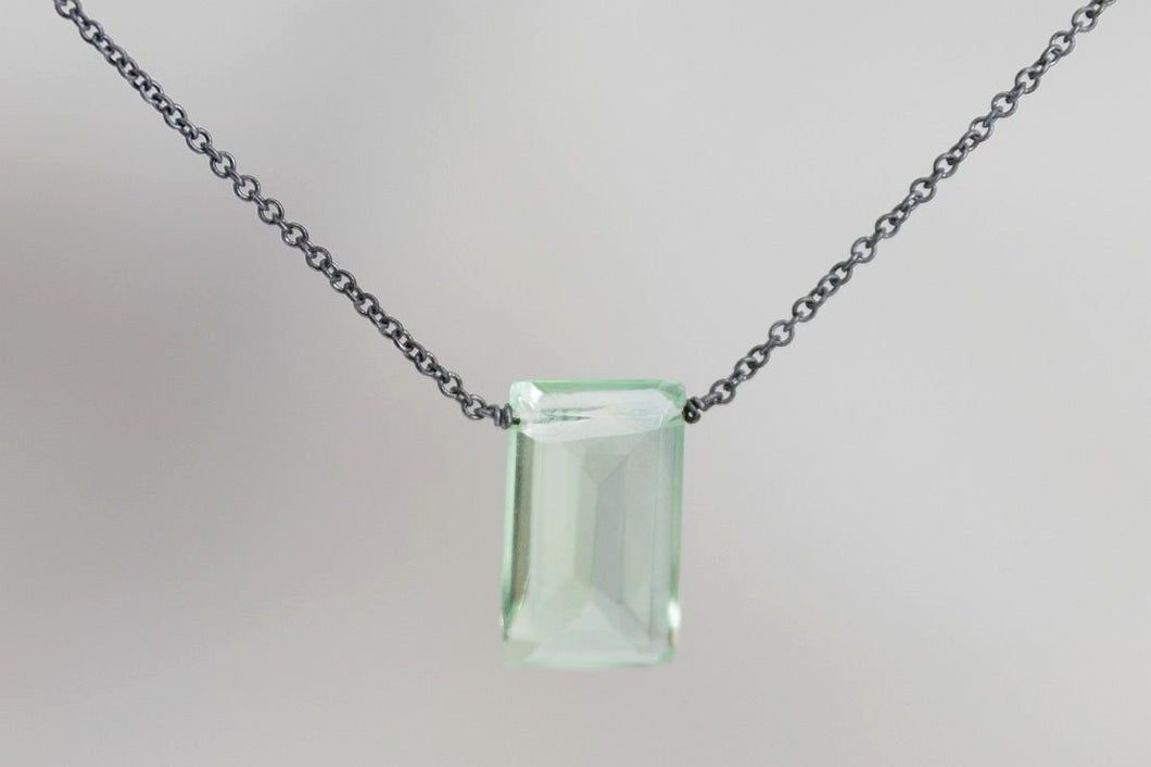 XLFB Fluorite Large Baguette Oxidized Necklace