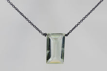 XLGAB Green Amethyst Large Baguette Oxidized Necklace