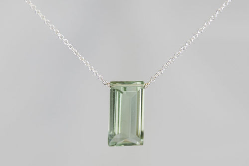 XLGAS Green Amethyst Large Baguette Silver Necklace