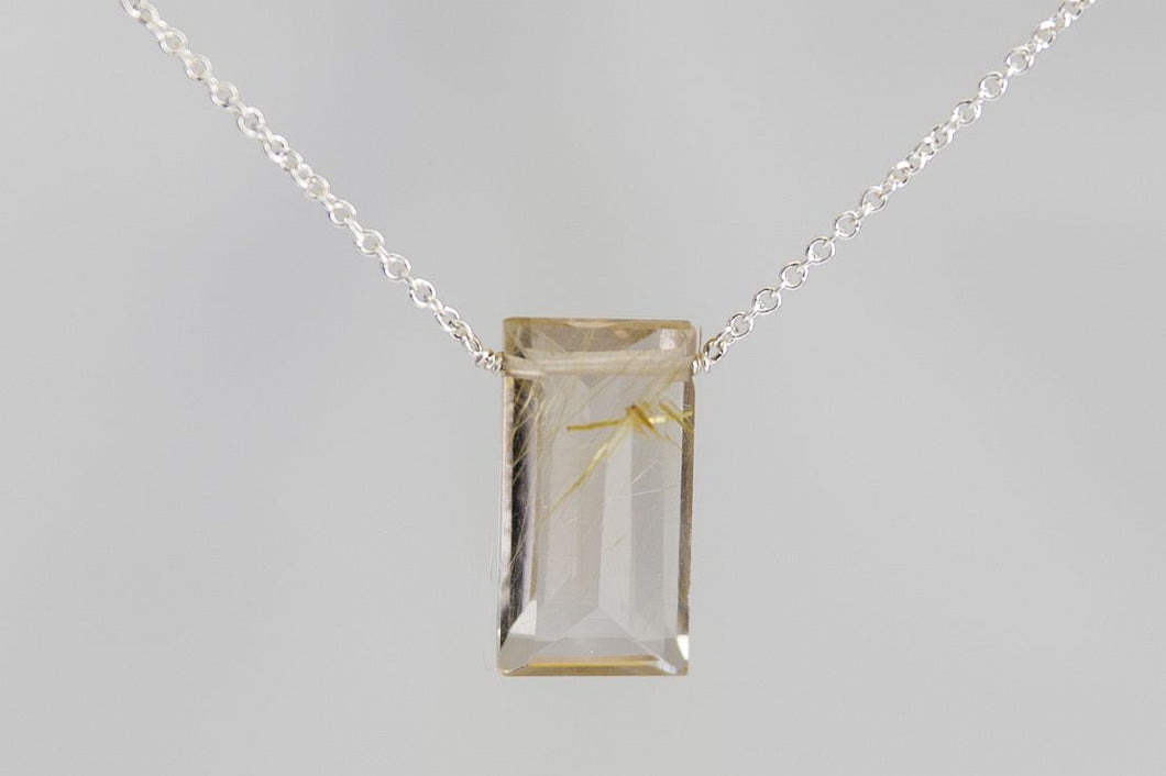 XLGRS Gold Rutilated Quartz Large Baguette Silver Necklace