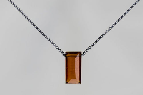 XLHB Hessonite Garnet Large Baguette Oxidized Necklace