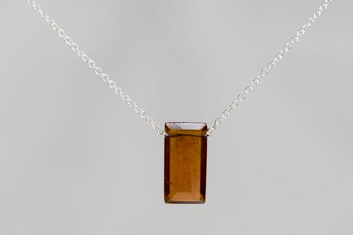 XLHS Hessonite Garnet Large Baguette Silver Necklace