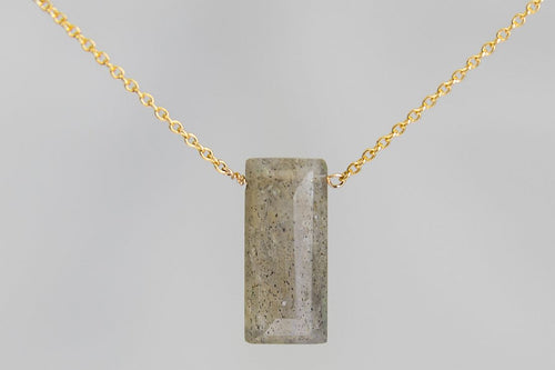 XLLG Labradorite Large Baguette Gold Necklace