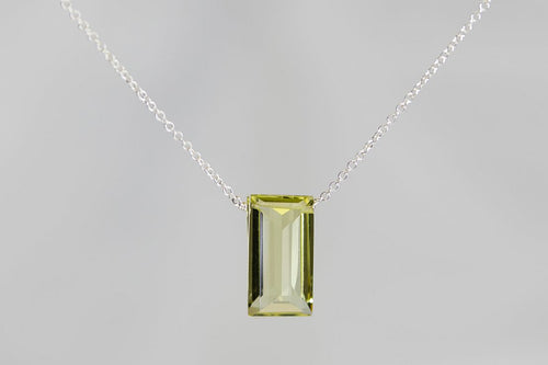 XLLQS Lemon Quartz Large Baguette Silver Necklace