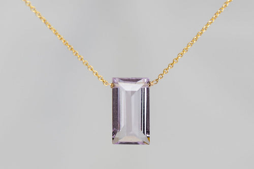 XLPAG Pink Amethyst Large Baguette Gold Necklace