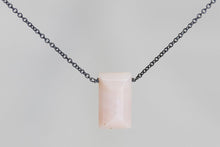 XLPOB Pink Opal Large Baguette Oxidized Necklace