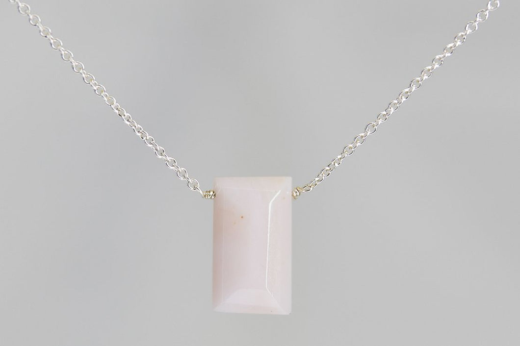 XLPOS Pink Opal Large Baguette Silver Necklace
