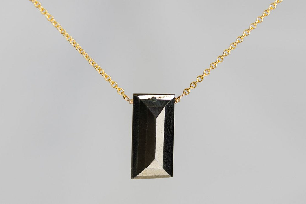 XLPYG Pyrite Large Baguette Gold Necklace