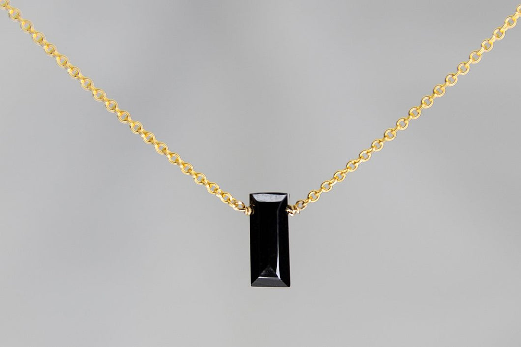 XSBSG Black Spinel Small Baguette Gold Necklace