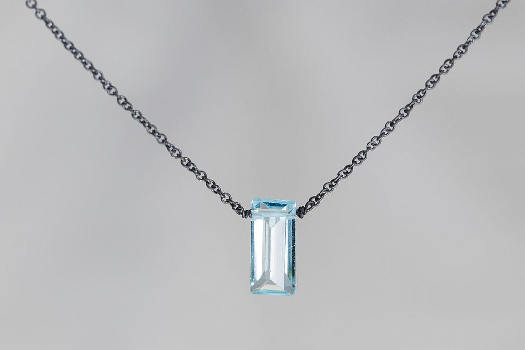 XSBTB Blue Topaz Small Baguette Oxidized Necklace