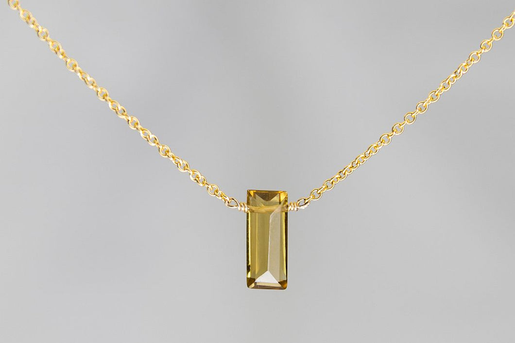 XSCQG Cognac Quartz Small Baguette Gold Necklace