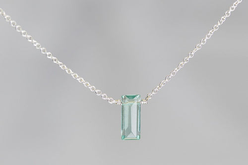 XSFS Fluorite Small Baguette Silver Necklace