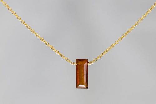 XSHG Hessonite Garnet Small Baguette Gold Necklace