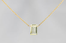 XSLQG Lemon Quartz Small Baguette Gold Necklace