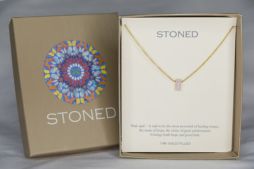 XSPOG Pink Opal Small Baguette Gold Necklace