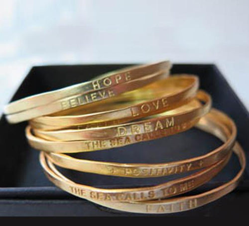 BA43V YOU ARE MY DAUGHTER AND I LOVE YOU - Gold Vermeil Bangle - b.u. jewelry