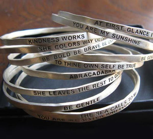 BA12 AT FIRST GLANCE I LOVED YOU WITH A THOUSAND HEARTS - Sterling Silver Bangle - b.u. jewelry
