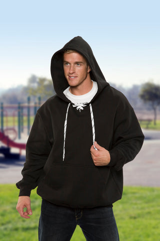 #9801 Hockey Style Hooded Pullover Sweatshirt