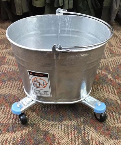 USGI GALVANIZED STEEL MOP BUCKET WITH WHEELS BY DOVER 412