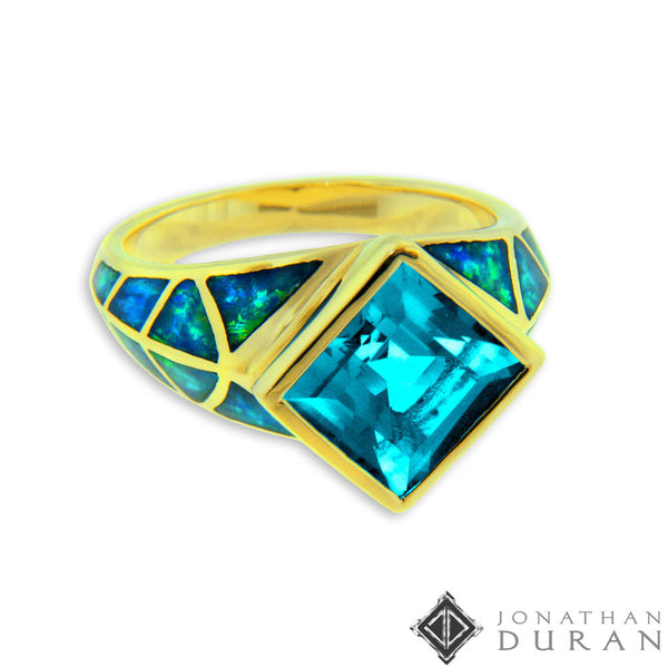 Jonathan Duran s Blue Topaz Opal Inlay Ring Ambience Jewelry