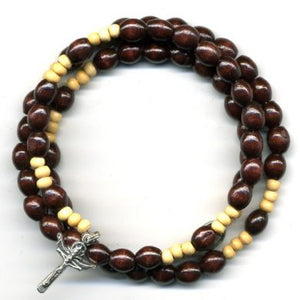 Wrap Rosary - Dark with Pale Brown Beads