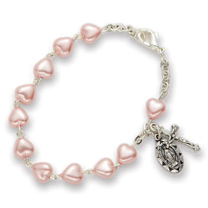 5MM Pink Heart Shaped Bead Rosary Bracelet