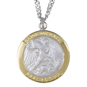 Large 2-Tone Saint Michael Medal