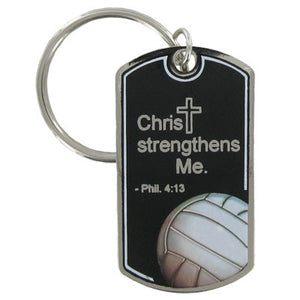 Volleyball Dog Tag Style Keychain