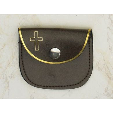 Brown Snap Rosary Pouch