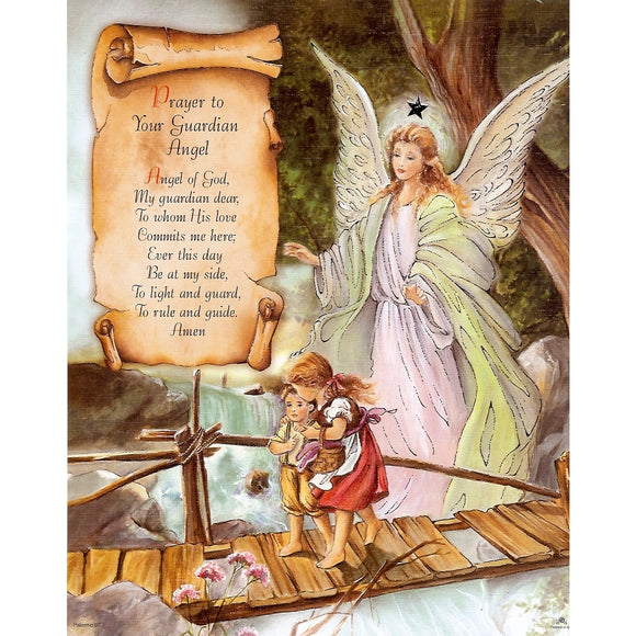 Prayer to Guardian Angel 8x10 Carded Print