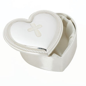 Beaded-Edge Silver Heart Keepsake Box