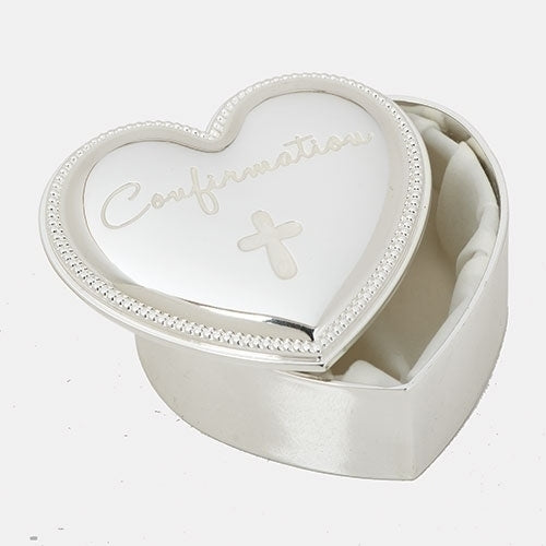 Beaded-Edge Silver Heart Confirmation Keepsake Box