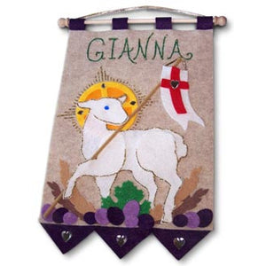 First Communion Purple Lamb of God Banner Kit
