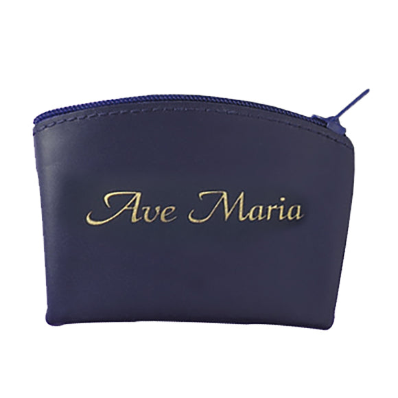 Blue Ave Maria Zippered Rosary Case