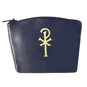 Blue Vinyl Zippered Rosary Case