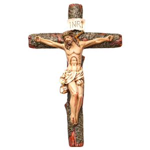 "14.5"" Tall Moss Covered Crucifix"