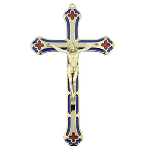 "7"" Blue and Red Enameled Crucifix"