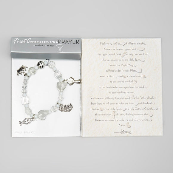 White First Communion Story Bracelet