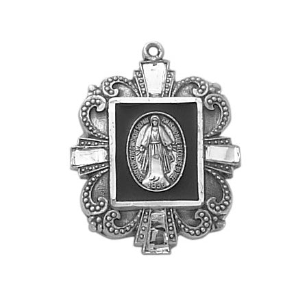 Sterling Silver and Black Onyx Miraculous Medal with Chain