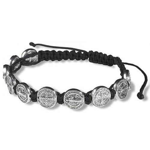 St. Benedict Medal Rope Bracelet - Assorted Colors