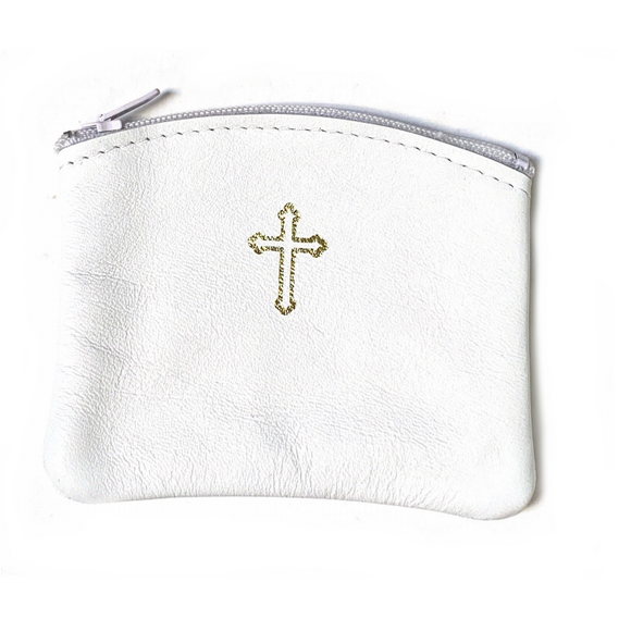 White Leather Rosary Pouch