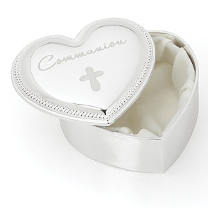 Silver Heart Communion Keepsake Box